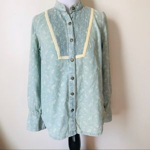 Free People XS Chambray Denim Peasant Top Floral